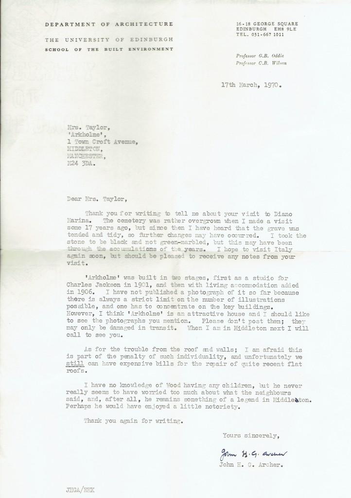 Archer, John letter to Nan Taylor